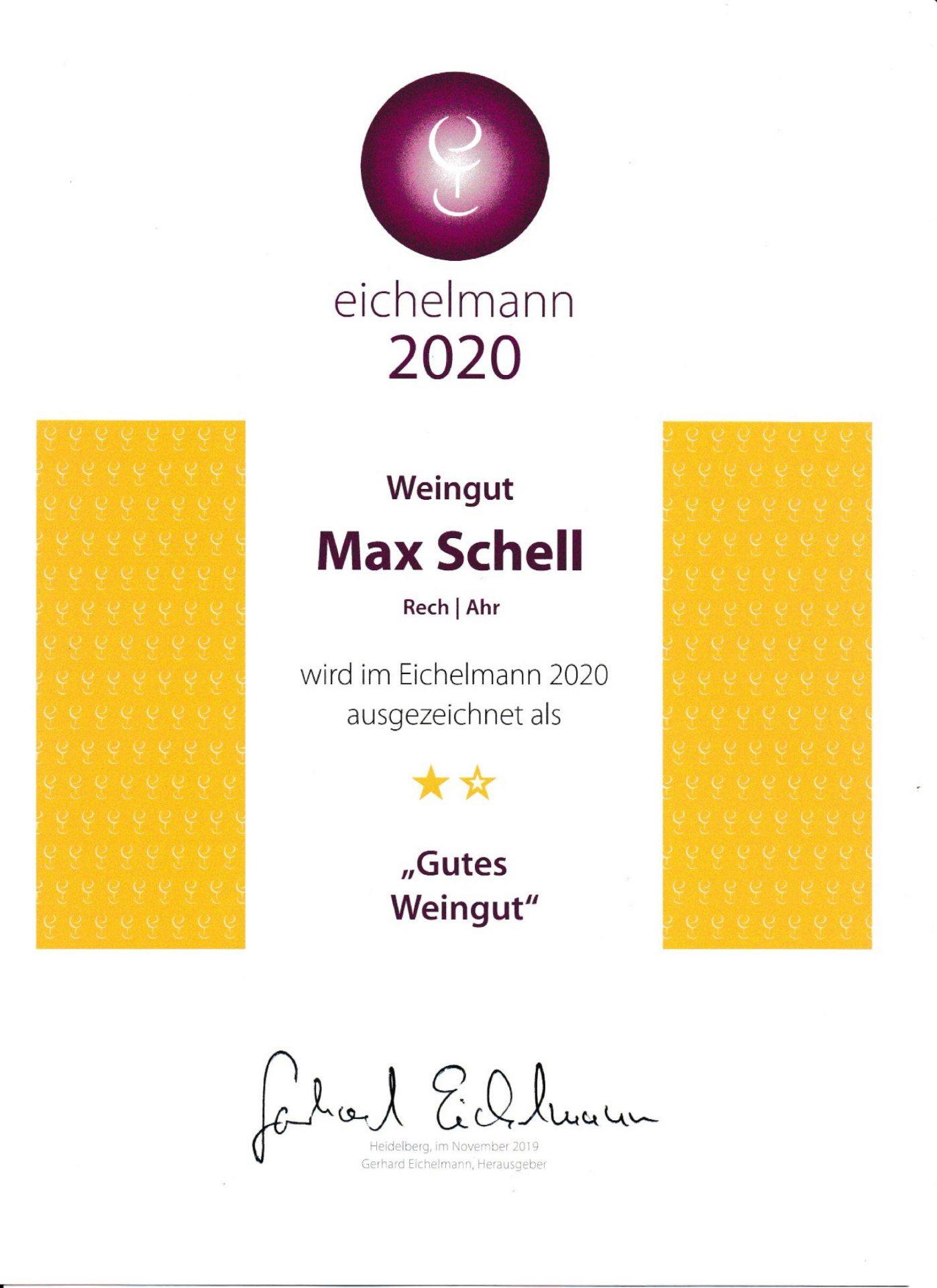 2020 Eichelmann Urkunde